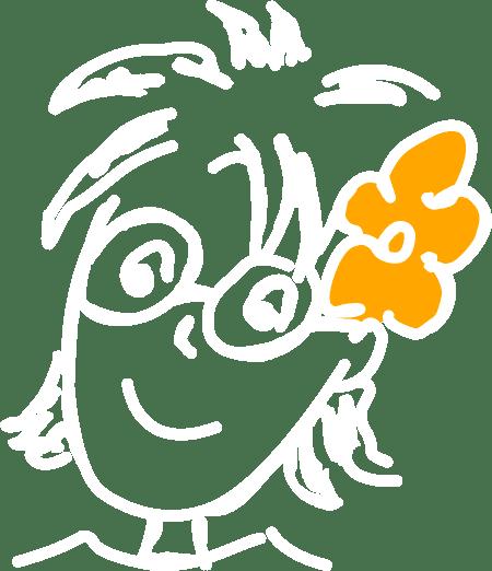 Illustration von einer Person mit Blume im Haar