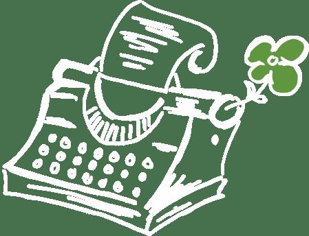 Illustration von einer Schreibmaschine mit Blume